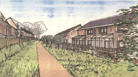 Artists impression of the view looking west between two terraces