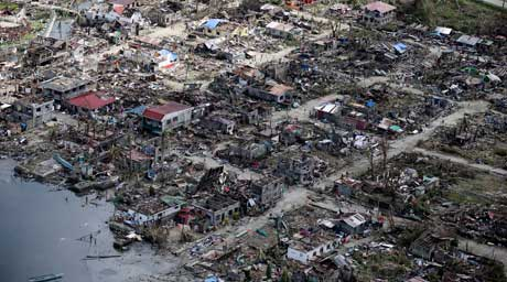 Aerial view of the super typhoon devastated town of Guiuan