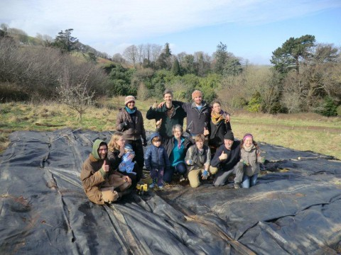 Volunteers at the Follaton Arboretum forest garden. This area is now getting planted!