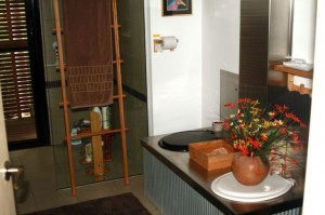 Dual chamber composting toilet in a modern bathroom