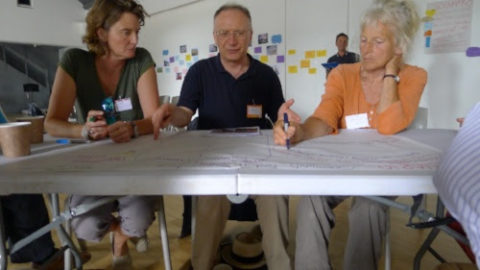 A scenario for a Totnes/Dartington food processing hub being explored, with Councillor Robert Vint, Grown in Totnes volunteer Laura Maxwell Stuart and Wendy Stayte, local food activist and former Incredible Edible Totnes coordinator.