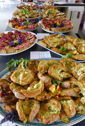 Above three photos: A delicious lunch by the Kitchen Table, using Grown in Totnes grains: Carrot and Sweet Charlotte Cheese Slices; Courgette and Gunstone Cheesecake; Pea Broadbean, Feta and Basil Swirls; Chocolate Raspberry Cake and more!