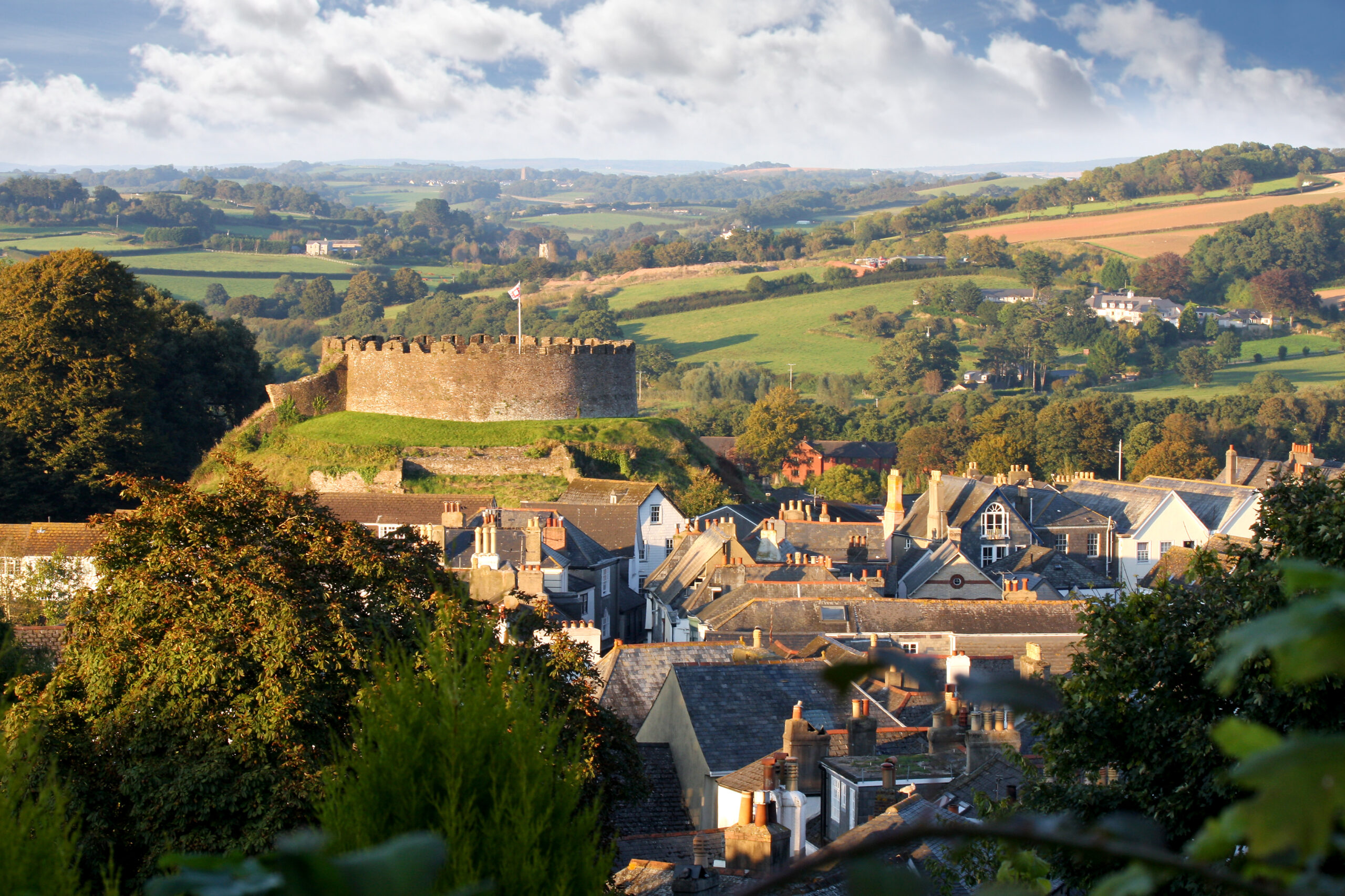 Totnes with Totnes Castle in the centre